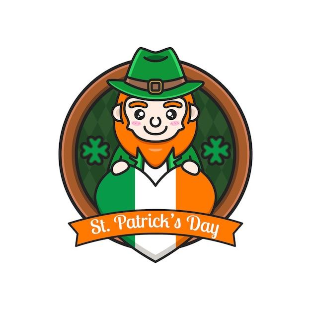 Saint patrick's day with cute leprechaun Premium Vector