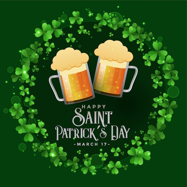 Saint patricks celebration patry with beer mugs background Free Vector