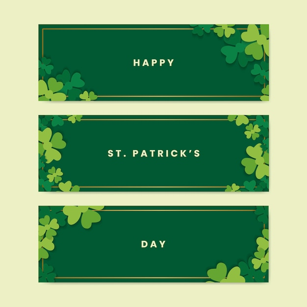 Saint patricks day banners Free Vector
