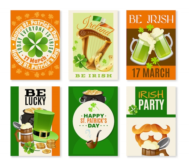 Saint patricks day celebration banners set Free Vector