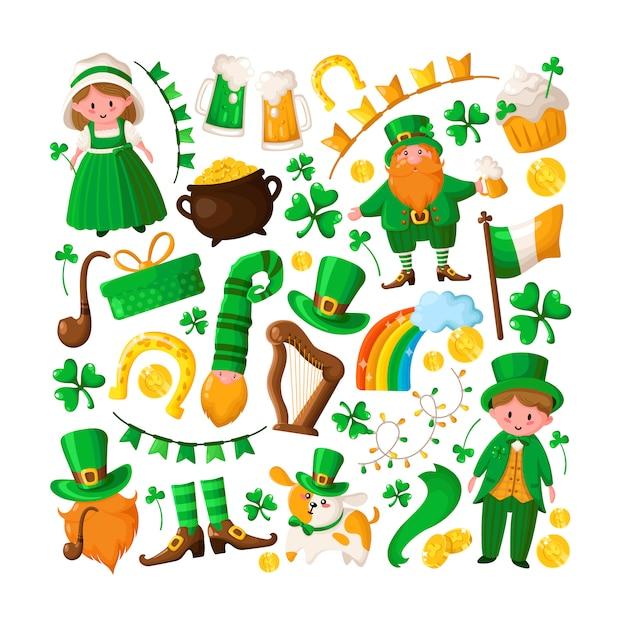 Saint patricks day cute boy and girl in green retro costumes, cartoon shamrock, leprechaun, pot of gold coins, smoking pipe, bowler hat, beer Premium Vector