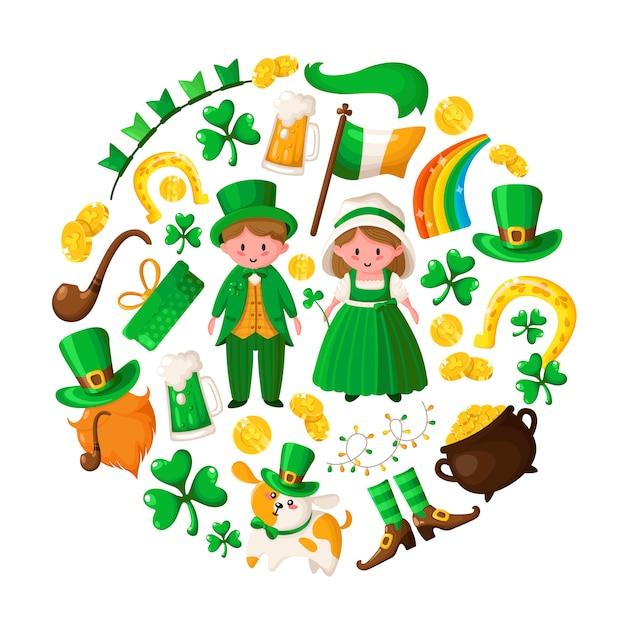 Saint patricks day cute boy and girl in green retro costumes, cartoon shamrock, leprechaun, pot of gold coins, smoking pipe Premium Vector