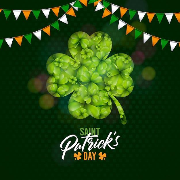 シャムロックとグリーンクローバーの背景にフラグと聖パトリックの日デザイン。グリーティングカードのアイルランドのビール祭りのお祝い休日イラスト 無料ベクター