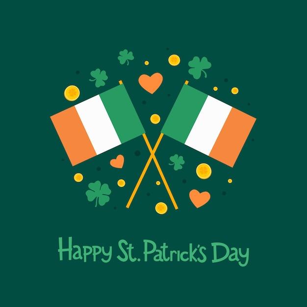 聖パトリックの日。アイルランドの旗、クローバーの葉、ハート、碑文の2つの画像:緑の背景に「ハッピー聖パトリックの日」。図。 Premiumベクター