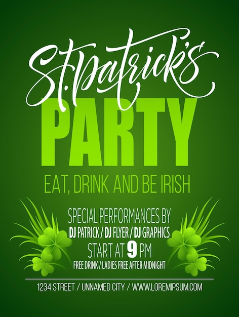 Saint patricks day poster design background. calligraphic lettering inscription happy st patricks day.  illustration Premium Vector