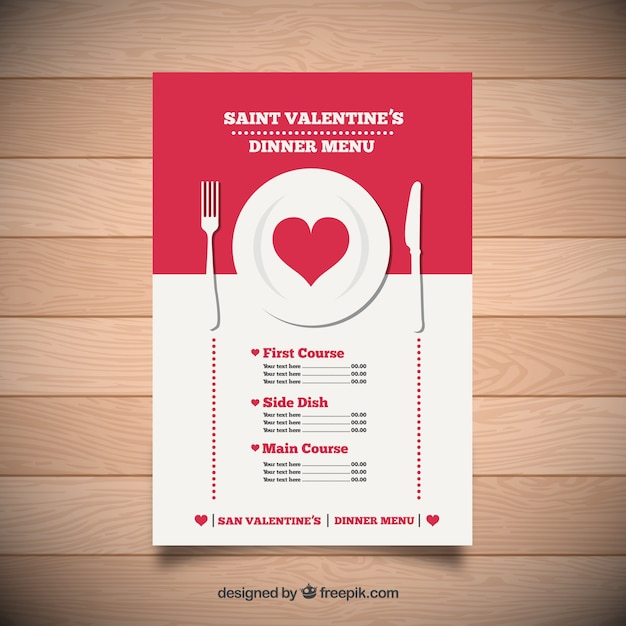 Saint valentine dinner menu Free Vector