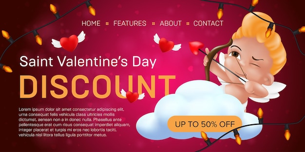Saint valentine's day discount landing page template or advertising special offer banner Premium Vector