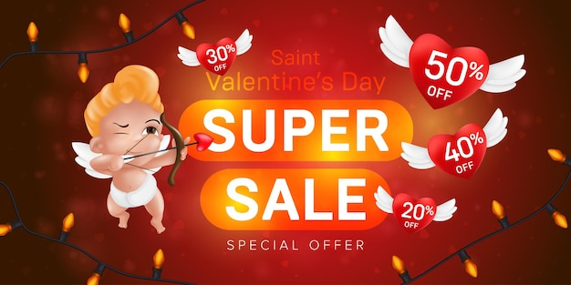 Saint valentine's day special offer horizontal flyer template or advertising super sale banner Premium Vector