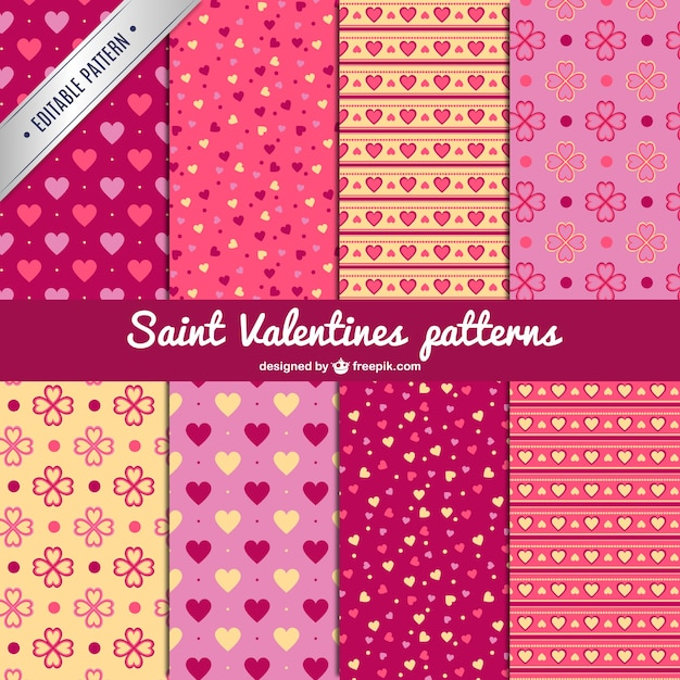 Saint valentine's patterns Free Vector
