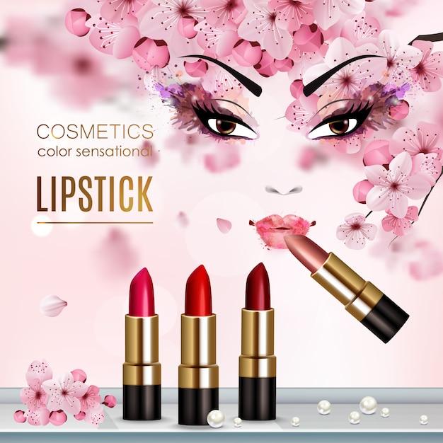口紅と化粧品の色の感覚の見出しの新しいコレクションの広告とさくら抽象チラシ 無料ベクター