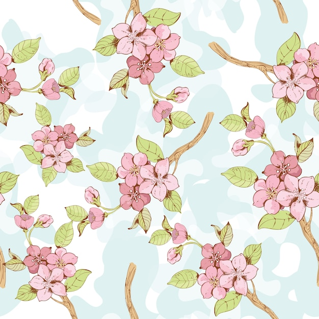 Sakura branch seamless patten Free Vector