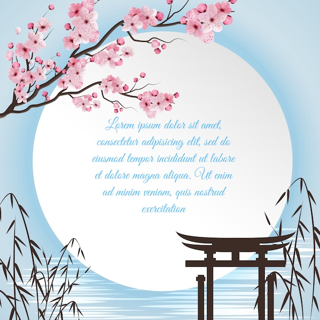 Sakura cartoon concept with japanese motifs and white circle with place for poem Free Vector