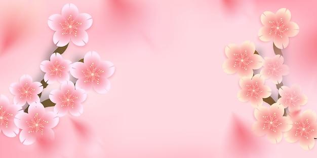 Sakura,cherry blossom, die-cut floral falling down background, Premium Vector