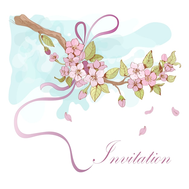 Sakura cherry illustration with invitation word Free Vector