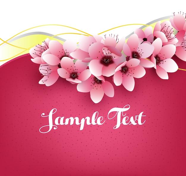 Sakura flowers on pink template Premium Vector
