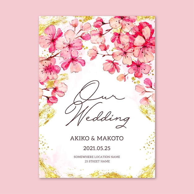 Sakura flowers wedding invitation template Free Vector