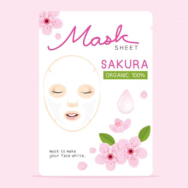Sakura mask sheet Premium Vector