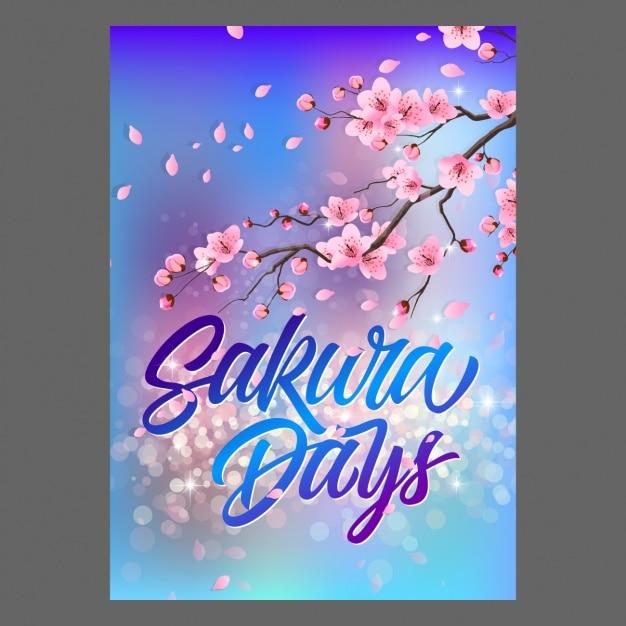 Sakura poster design Free Vector