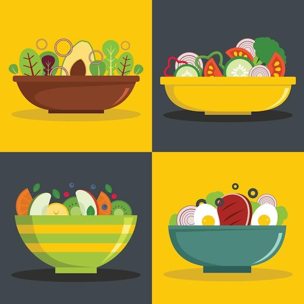 Salad bowl backgrounds Premium Vector