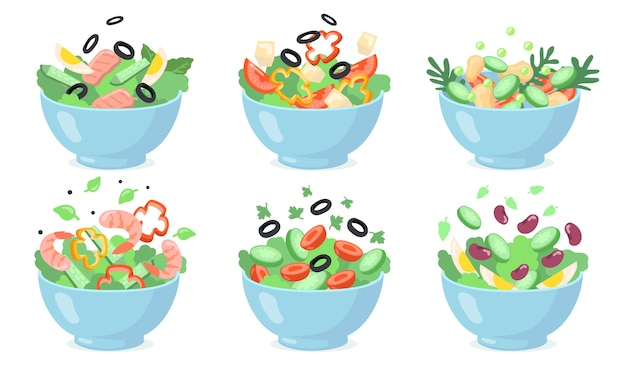 Salad bowls set. cut green vegetables with eggs, olives, cheese, beans, shrimps. vector illustrations for fresh food, healthy eating, appetizer, lunch s Free Vector