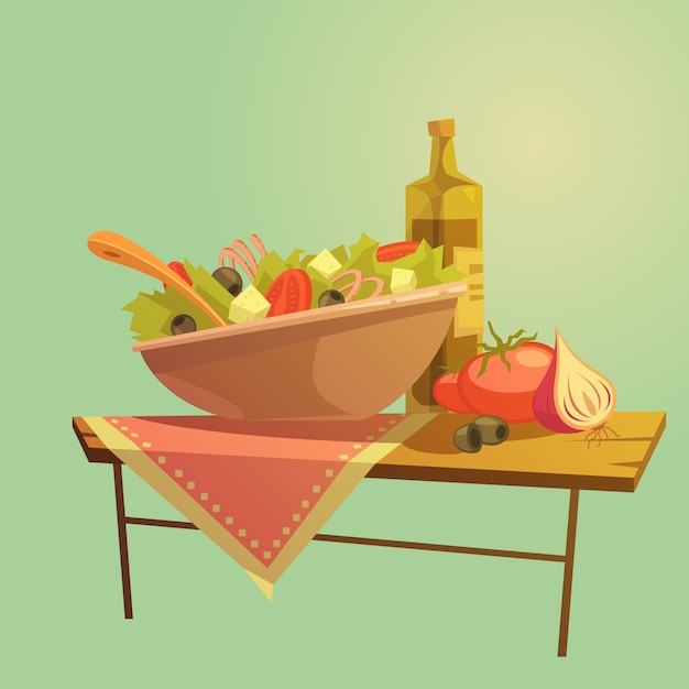 Salad cartoon concept Free Vector