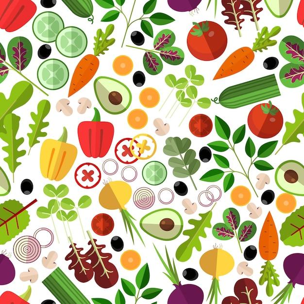 サラダの材料のシームレスなパターン。野菜のキノコとアボカド、タマネギとニンジン、キュウリとコショウ、 無料ベクター