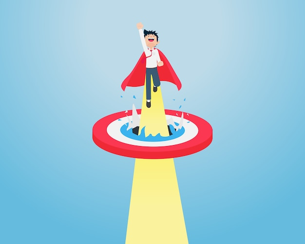 Salary man fly quickly through the center of the target quickly Premium Vector