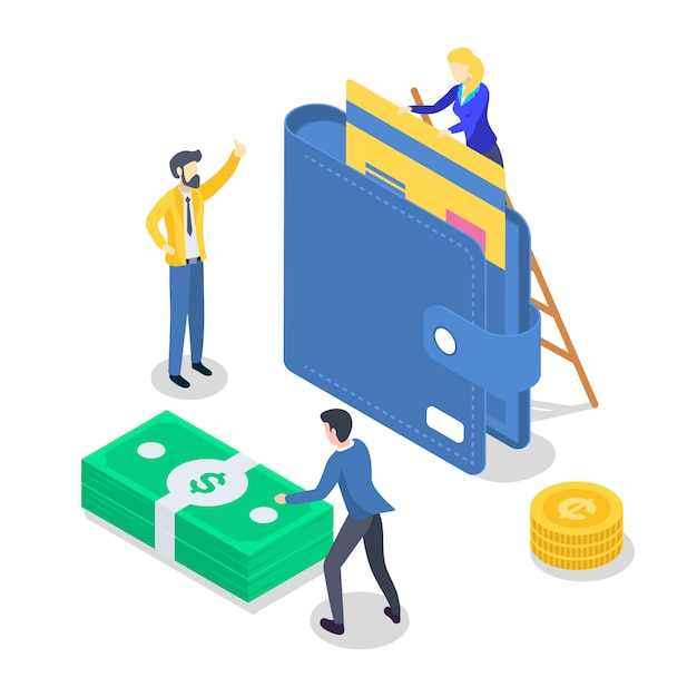 Salary payment isometric color  illustration. accounting and audit. saving money. revenue increase. banking. annual bonus. payout, payday. people receiving wage. 3d concept isolated on white Premium Vector