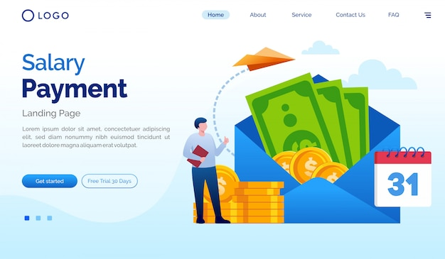 Salary payment landing page website illustration flat vector template Premium Vector