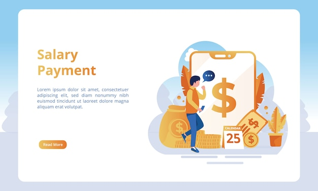 Of salary payment for landing pages Premium Vector