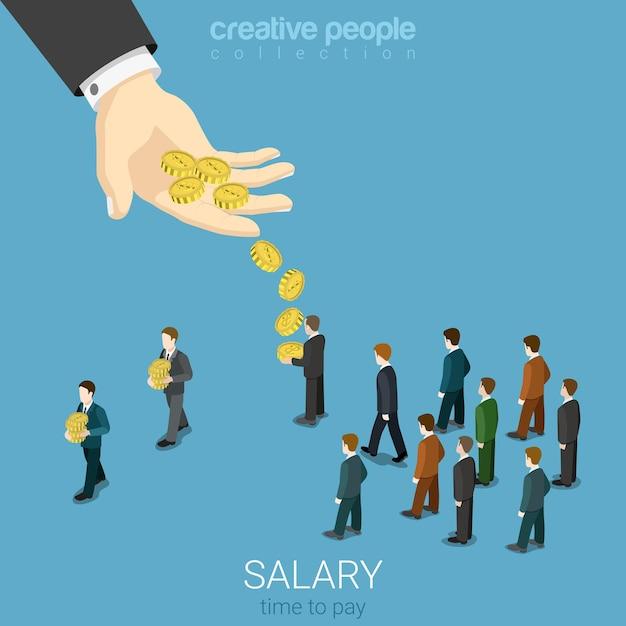 給与賃金ビジネスコンセプトフラット 無料ベクター