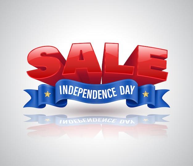 Распродажа 3d-текста с синей ленточкой для продвижения на день независимости распродажа Premium векторы