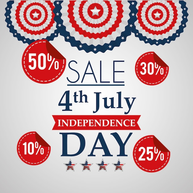 Sale 4 july american independence day Premium Vector