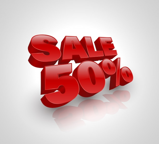 Sale 50 percent off red 3d style Premium Vector
