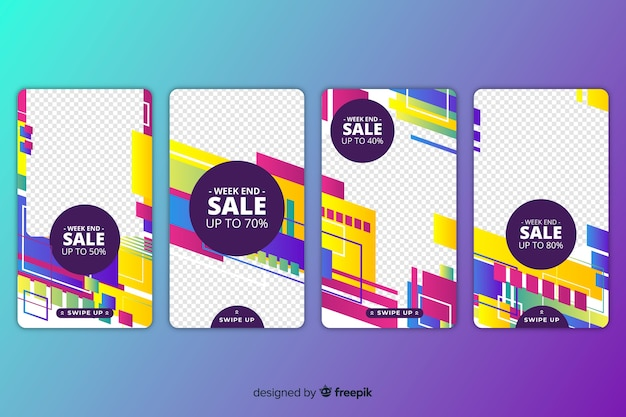 Sale abstract colorful instagram stories Free Vector