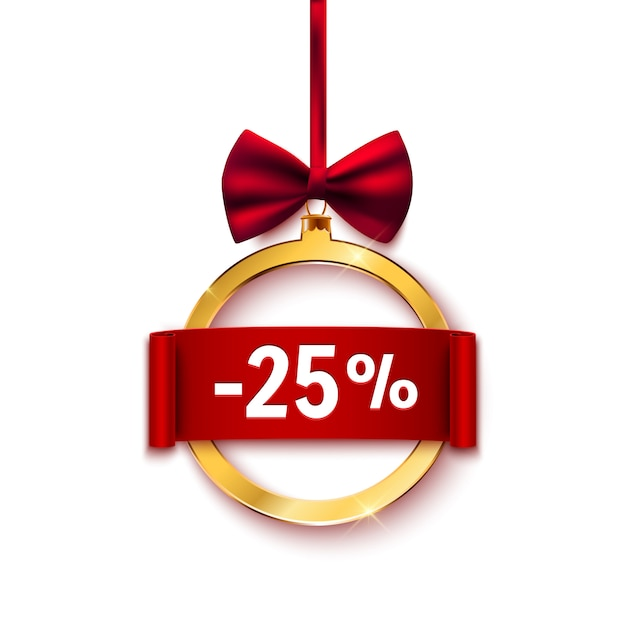 Sale advertisement banner with red bow, discount Premium Vector