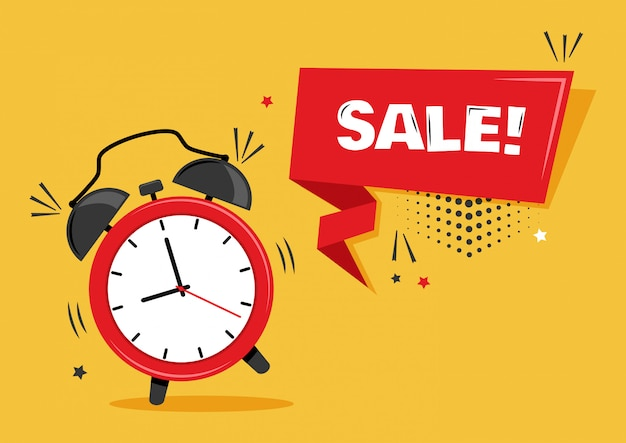 Sale. alarm clock with ribbon banner.   illustration. Premium Vector