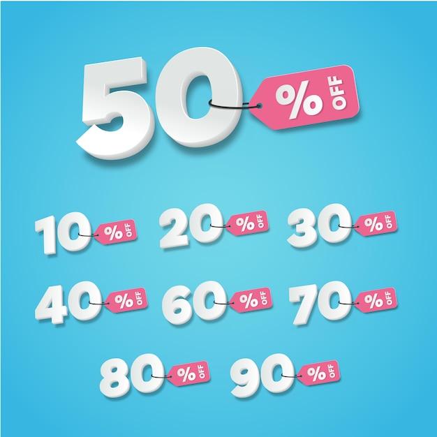 Продажа и скидки на этикетки. цена от тега значок плоский дизайн набор сбора Premium векторы