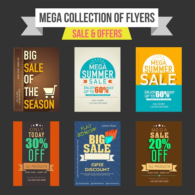 Sale And Discount Offers Flyers Templates Or Banners Collection