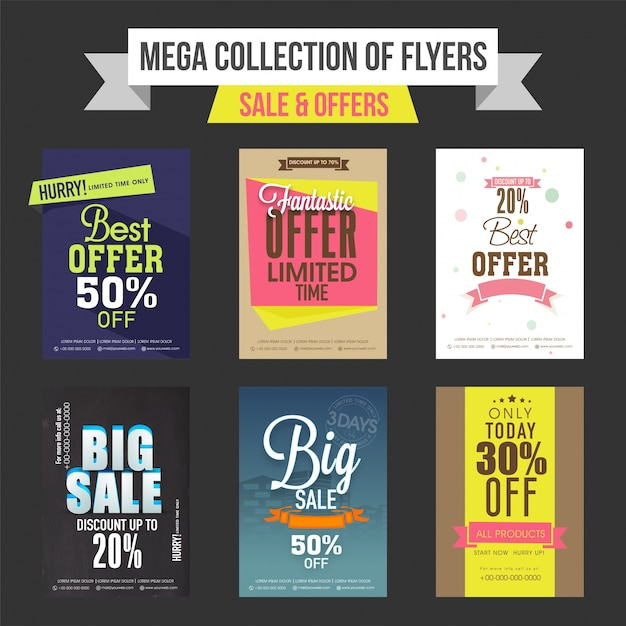 sale and discount offers templates banners or flyers design