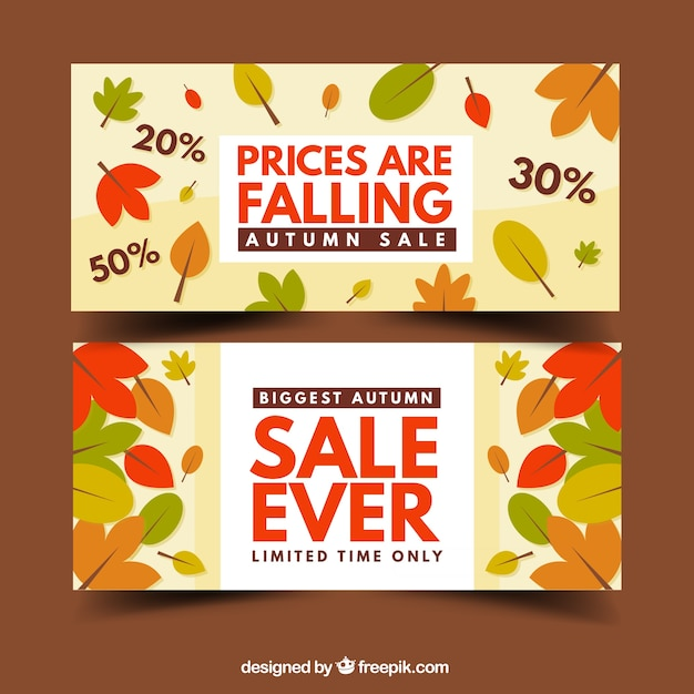 Sale autumnal season banners with dry\ leaves