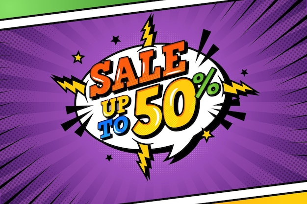 Sale background in comic paper style Free Vector