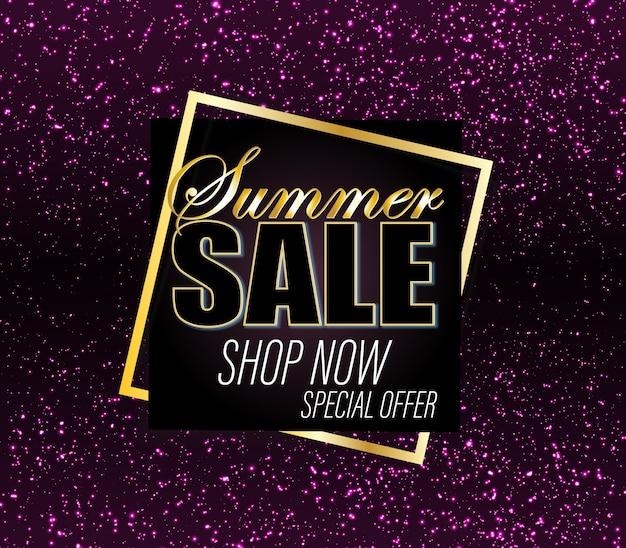 Sale background. gold glitter banner. . Premium Vector