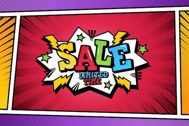 Продажа фона в стиле комиксов Бесплатные векторы