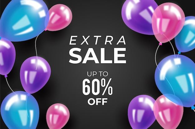 Sale background with balloons Free Vector