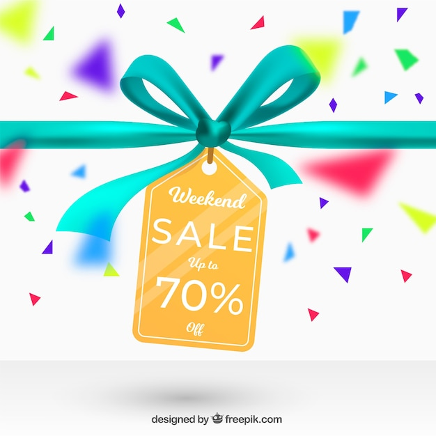 Sale background with label in realistic style Free Vector