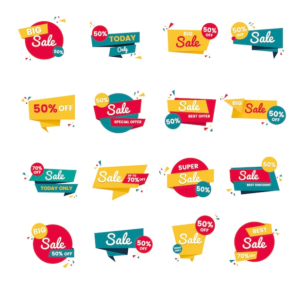 Sale badge vector design set Free Vector