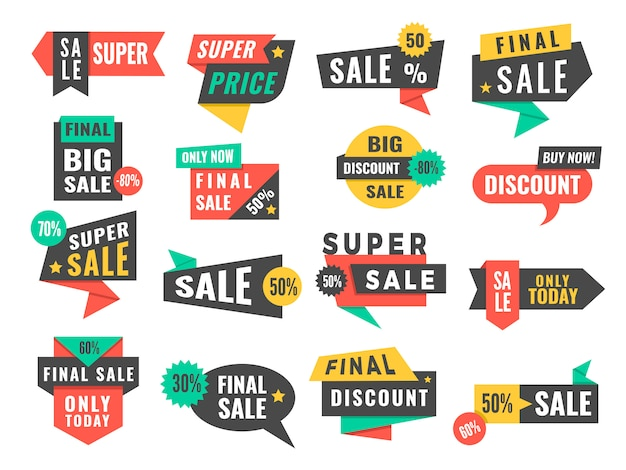 판매 배지. 광고 프로모션 라벨 제공 및 큰 할인 사진 세트 프리미엄 벡터