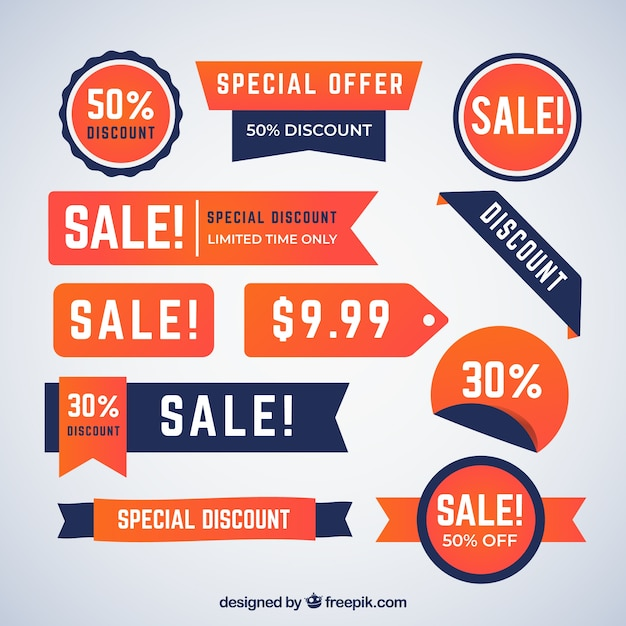 Sale badges collection in gradient colors Free Vector