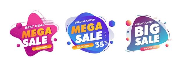 Распродажа значки для офлайн интернет-магазина продвижение знак скидки Premium векторы